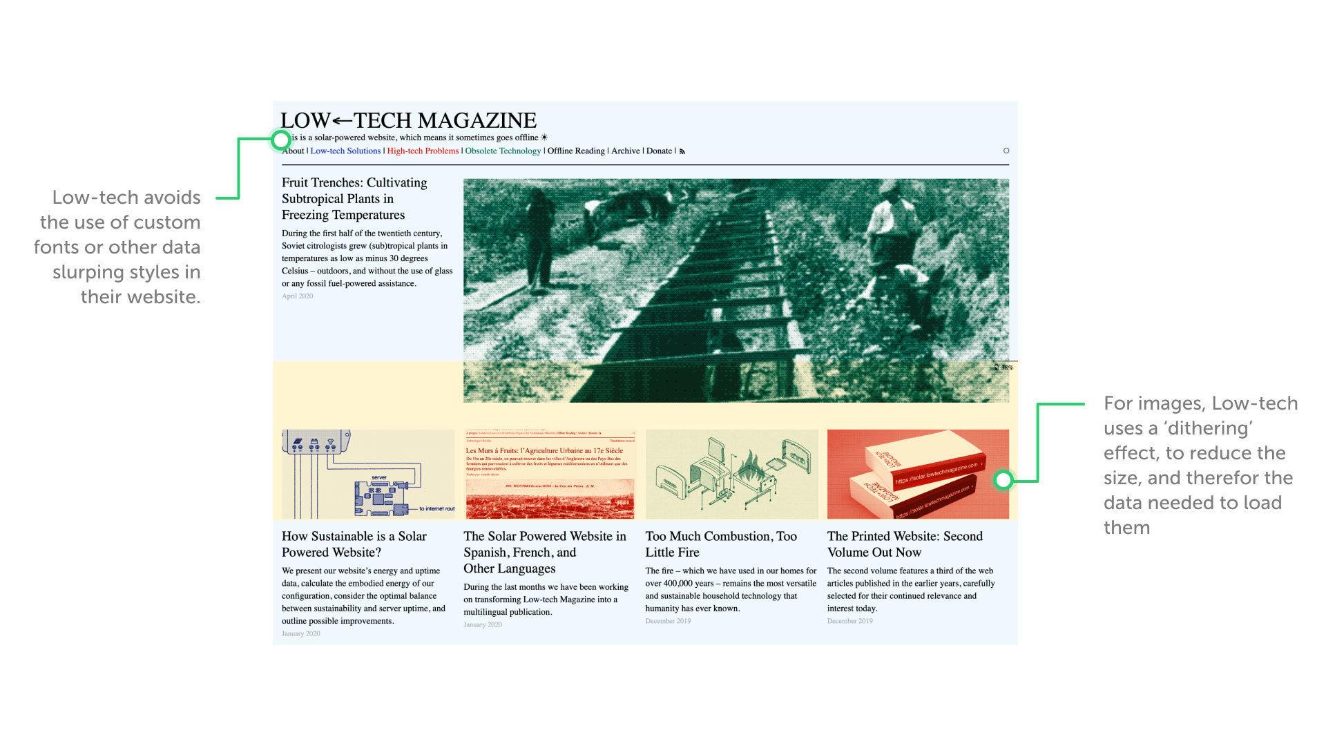 Low-tech Magazine's solar powered website