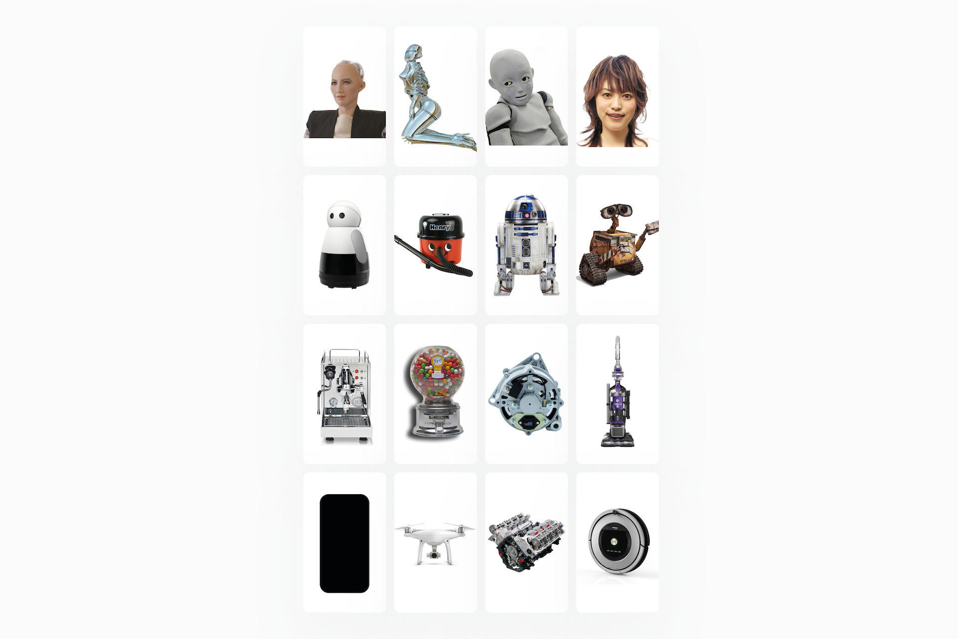 Some of the images shown during the user-testing, which revealed people prefer objects with human-like behaviour
